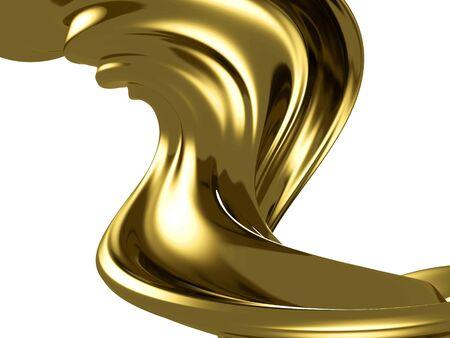 Golden beautiful fluid spash background. 3d rendering Banco de Imagens
