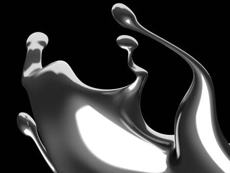 Splash brillante abstracto líquido plateado. Ilustración de render 3d Foto de archivo