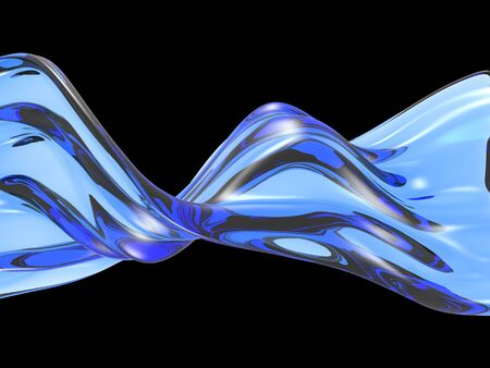 Blue pure water liquid splash . 3d render illustration