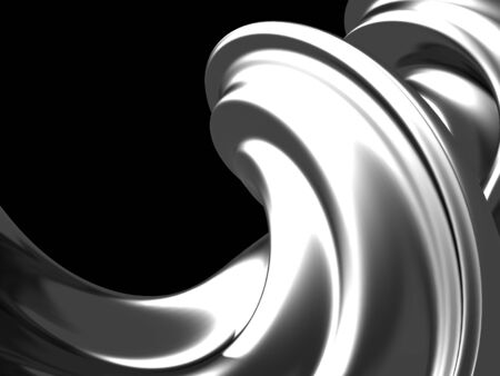 Silver liquid abstract shiny splash. 3d render illustration