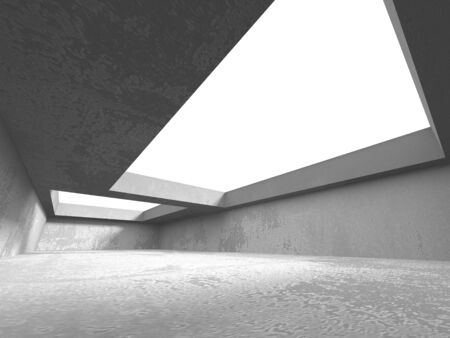 Dark concrete empty room. Modern architecture design. Urban textured background. 3d render illustration