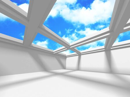 Futuristic White Architecture Design on Cloudy Sky Background. Abstract Construction Concept. 3d Render Illustration Banque d'images - 131955809