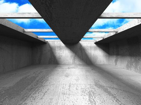 Concrete room wall construction on cloudy sky background. Abstract architecture design concept. 3d render illustration