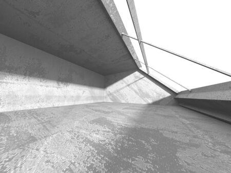 Dark concrete empty room. Modern architecture design. Urban textured background. 3d render illustration Banque d'images - 131956033