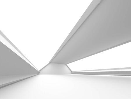 Futuristic White Architecture Design Background. Construction Concept. 3d Render Illustration Banque d'images - 131955441