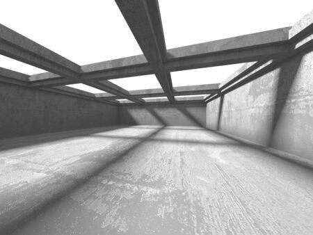 Dark concrete empty room. Modern architecture design. Urban textured background. 3d render illustration Archivio Fotografico - 131953051
