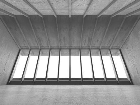 Dark concrete empty room. Modern architecture design. Urban textured background. 3d render illustration Archivio Fotografico - 131953038