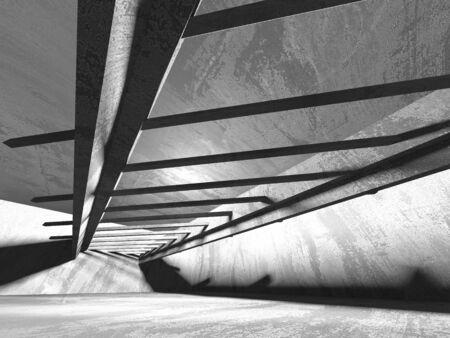 Dark concrete empty room. Modern architecture design. Urban textured background. 3d render illustration Archivio Fotografico - 131953088
