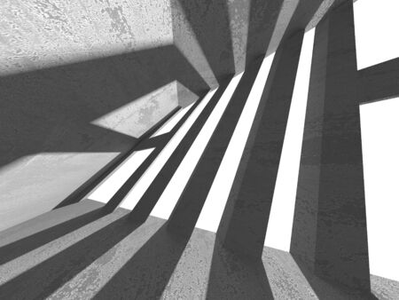 Dark concrete empty room. Modern architecture design. Urban textured background. 3d render illustration Banque d'images - 131957337