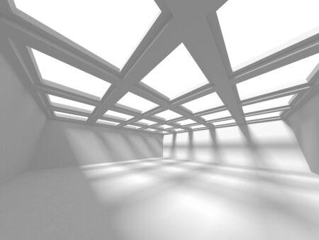 Futuristic White Architecture Design Background. Construction Concept. 3d Render Illustration Banque d'images - 131955873