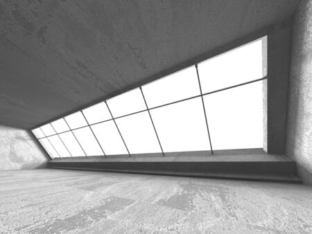 Dark concrete empty room. Modern architecture design. Urban textured background. 3d render illustration Archivio Fotografico - 131954177