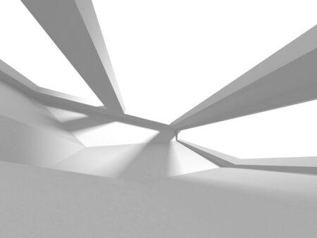Futuristic White Architecture Design Background. Construction Concept. 3d Render Illustration Banque d'images - 131955804