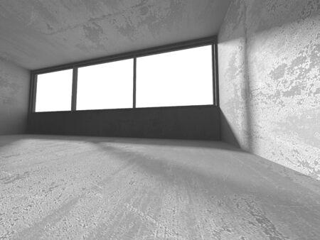 Dark concrete empty room. Modern architecture design. Urban textured background. 3d render illustration Archivio Fotografico - 131954410