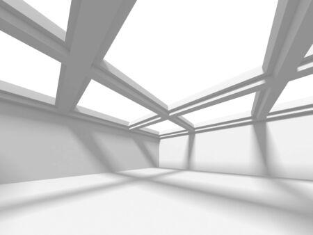 Futuristic White Architecture Design Background. Construction Concept. 3d Render Illustration Banque d'images - 131956745