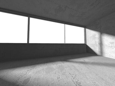 Dark concrete empty room. Modern architecture design. Urban textured background. 3d render illustration Banque d'images - 131957015