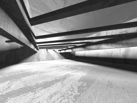 Dark concrete empty room. Modern architecture design. Urban textured background. 3d render illustration Archivio Fotografico - 131953953