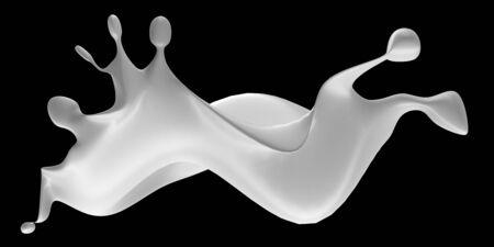 Fresh milk splash on black background. 3d render illustration
