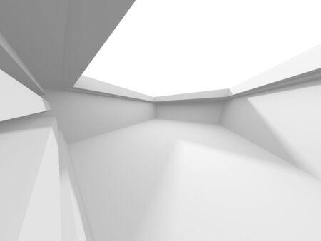 Futuristic White Architecture Design Background. Construction Concept. 3d Render Illustration Stock Photo