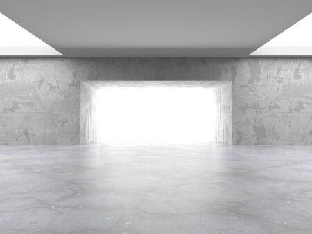 Ciemny betonowy pusty pokój. Projekt nowoczesnej architektury. Miejski teksturowanej tło. ilustracja renderowania 3d