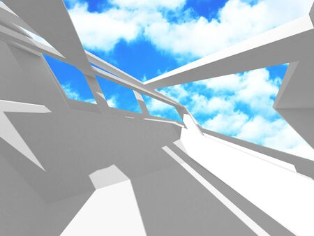 Futuristic White Architecture Design on Cloudy Sky Background. Abstract Construction Concept. 3d Render Illustration