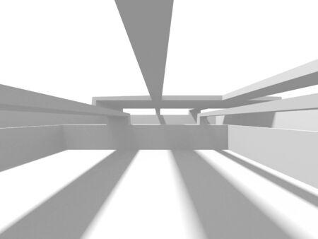 Futuristic White Architecture Design Background. Construction Concept. 3d Render Illustration 스톡 콘텐츠