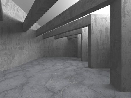 Habitación vacía de hormigón oscuro. Diseño de arquitectura moderna. Fondo urbano con textura. Ilustración de render 3D