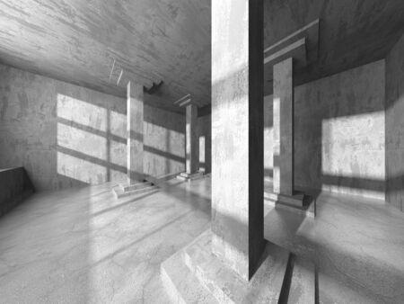 Donkere betonnen lege kamer. Modern architectuurontwerp. Stedelijke gestructureerde achtergrond. 3D render illustratie
