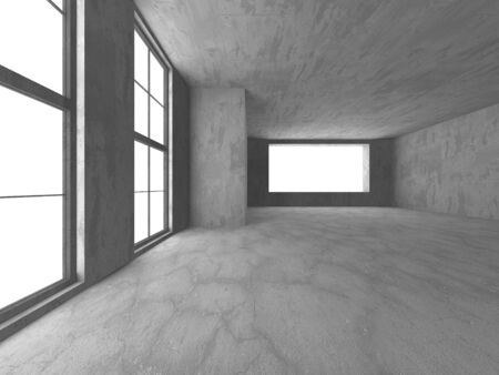 Dark concrete empty room. Modern architecture design. Urban textured background. 3d render illustration Banque d'images - 138555137