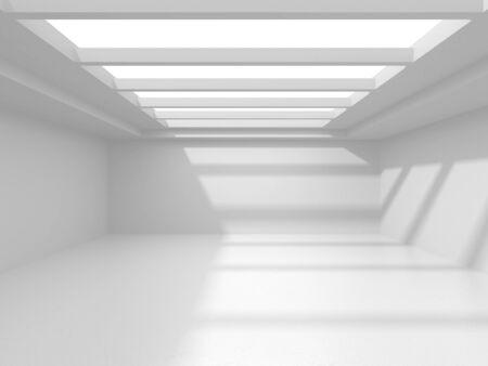 Futuristic White Architecture Design Background. Construction Concept. 3d Render Illustration Banque d'images - 138555145