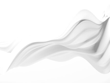 White abstract liquid wavy background. 3d render illustration Imagens