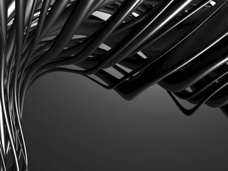 Metallic abstract wavy tubes background. 3d render illustration
