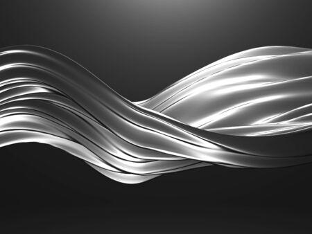 Metallic abstract wavy liquid background. 3d render illustration