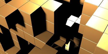 Luxury golden background. Gold glossy cubes array. 3d render