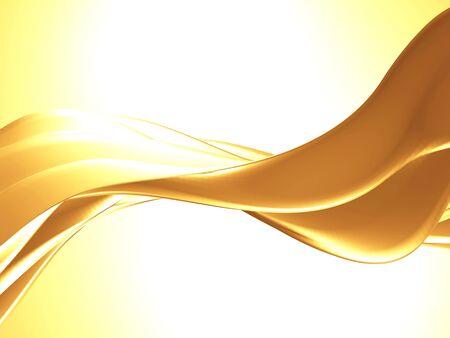 Golden abstract wavy liquid background. 3d render illustration