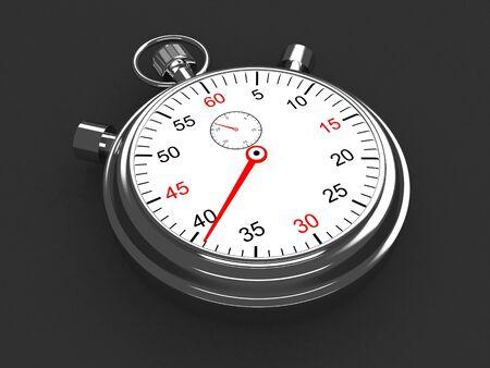 Vintage silver stopwatch on gray background. 3d render Foto de archivo