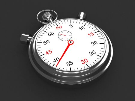 Vintage silver stopwatch on gray background. 3d render Imagens