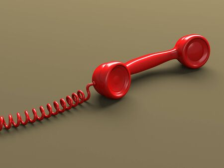 Retro styled phone red handset. 3d render