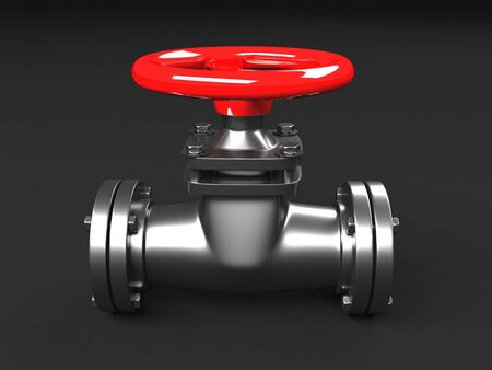 Industrial pipelines and valves with red wheels. 3d render