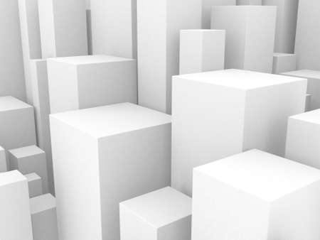 White cubes structure. Abstract futuristic background. 3d render Archivio Fotografico