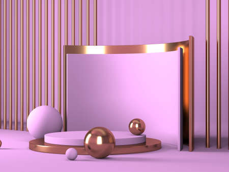 Abstract minimal scene with geometrical forms. Pink cream background. 3d render