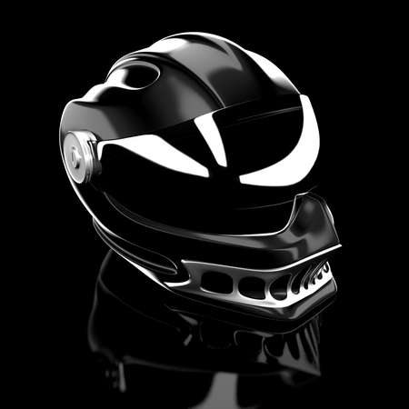 Shiny moto protective full face helmet. 3d render illustration