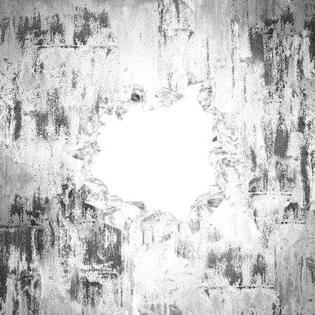 Cracked broken hole in concrete wall. Grunge background. 3d render illustration