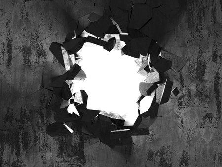 Explosion broken concrete wall bullet hole destruction. Dark cracked hole in wall. Grunge background. 3d render illustration Reklamní fotografie