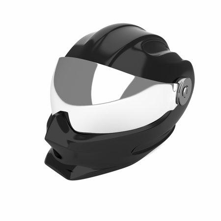 Futuristic motorcycle integral crash helmet. 3d render illustration