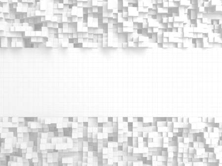 White cubes structure. Abstract futuristic background. 3d render