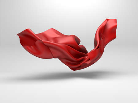Beautiful red flowing fabric flying in the wind. Abstract design of red silk.3d render illustration Banque d'images