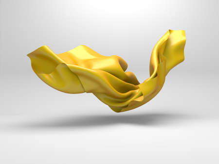 Flying golden silk fabric. Design element. 3d render illustration