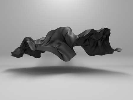 Abstract background luxury cloth. Smooth elegant black silk or satin texture. 3d render illustration