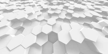 White Geometric Hexagon Abstract Background. 3d render