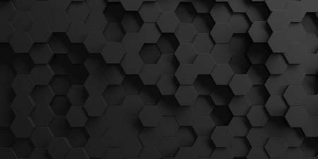 Chrome Metallic Hexagon Glossy Futuristic Background. 3d render